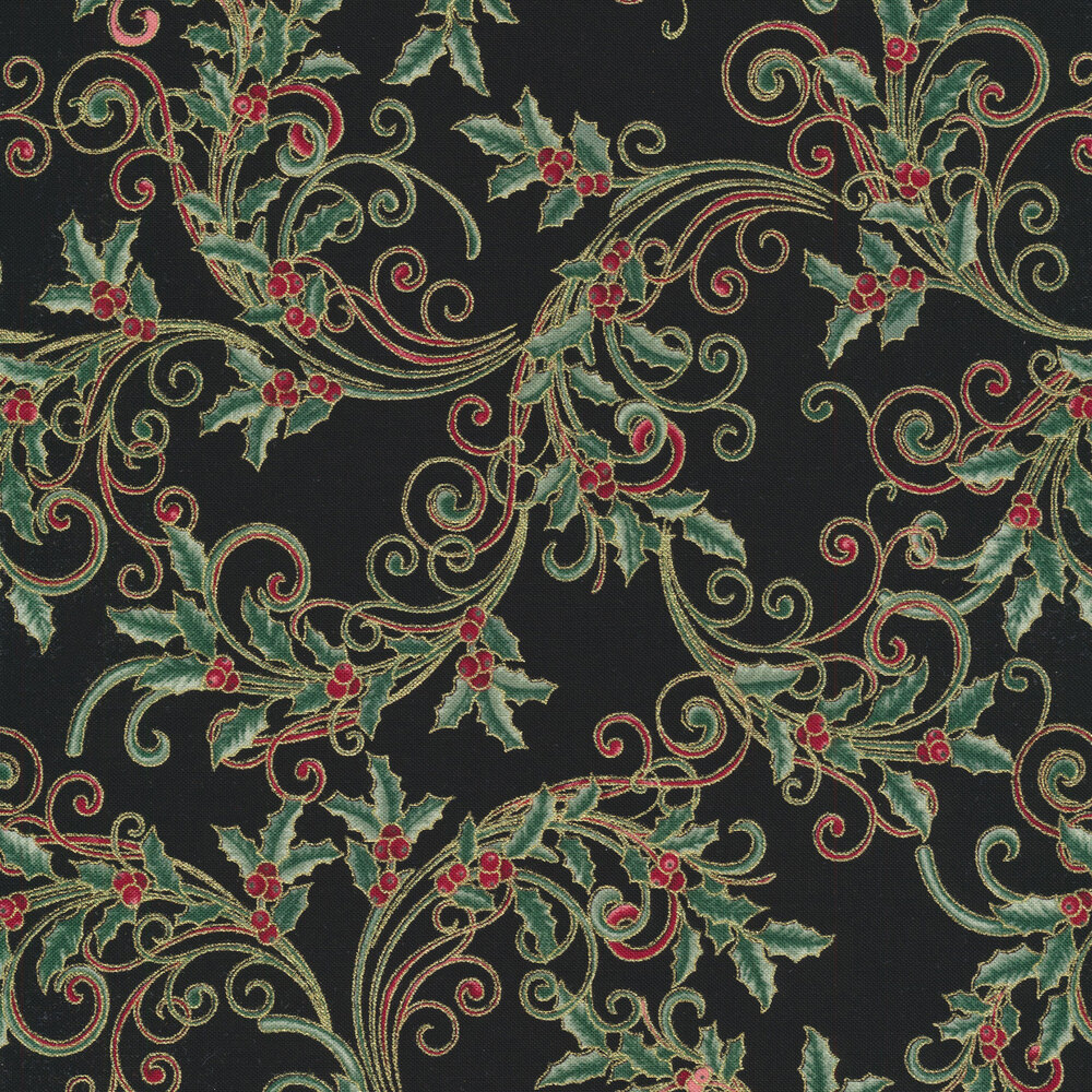 Red and green scrolls with metallic highlights and green holly berries on a cream background