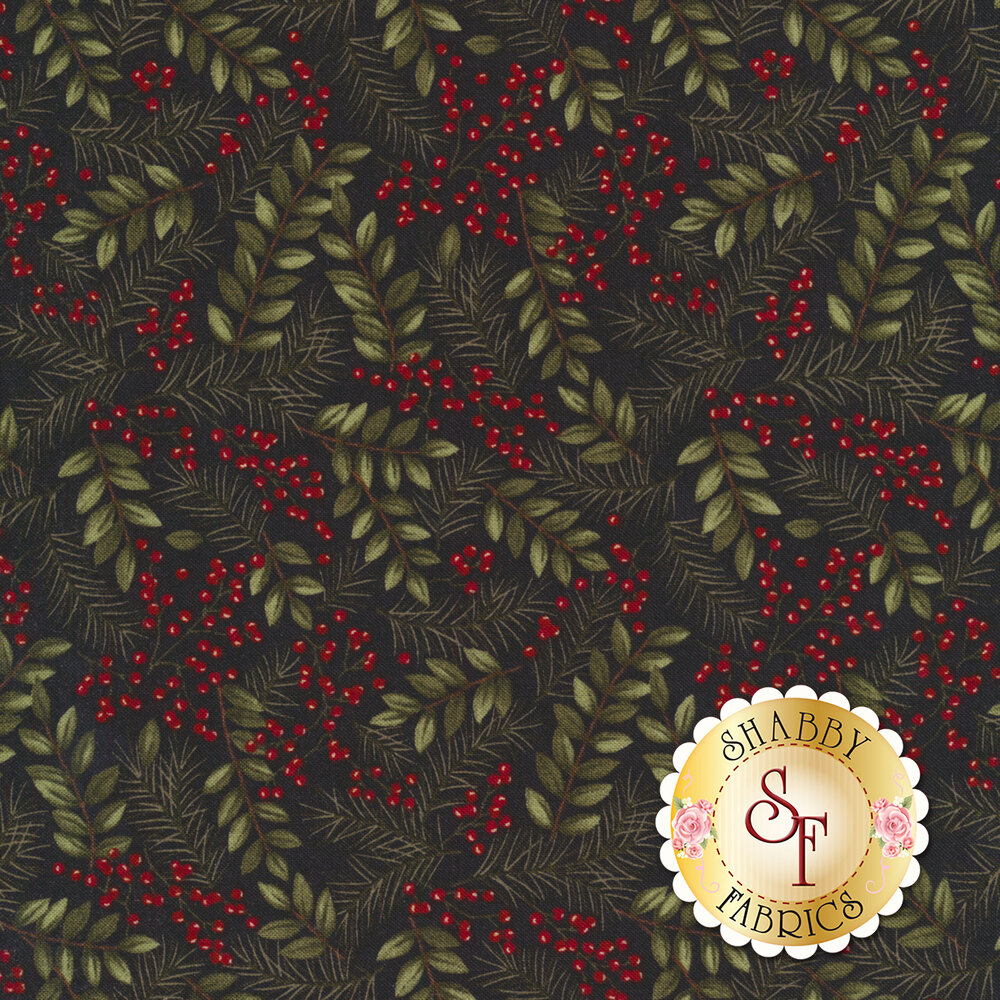 Green leaves with pine needles and red berries on black | Shabby Fabrics