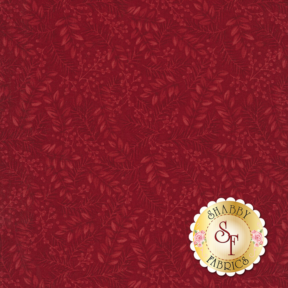Tonal red leaves with pine needles and berries | Shabby Fabrics