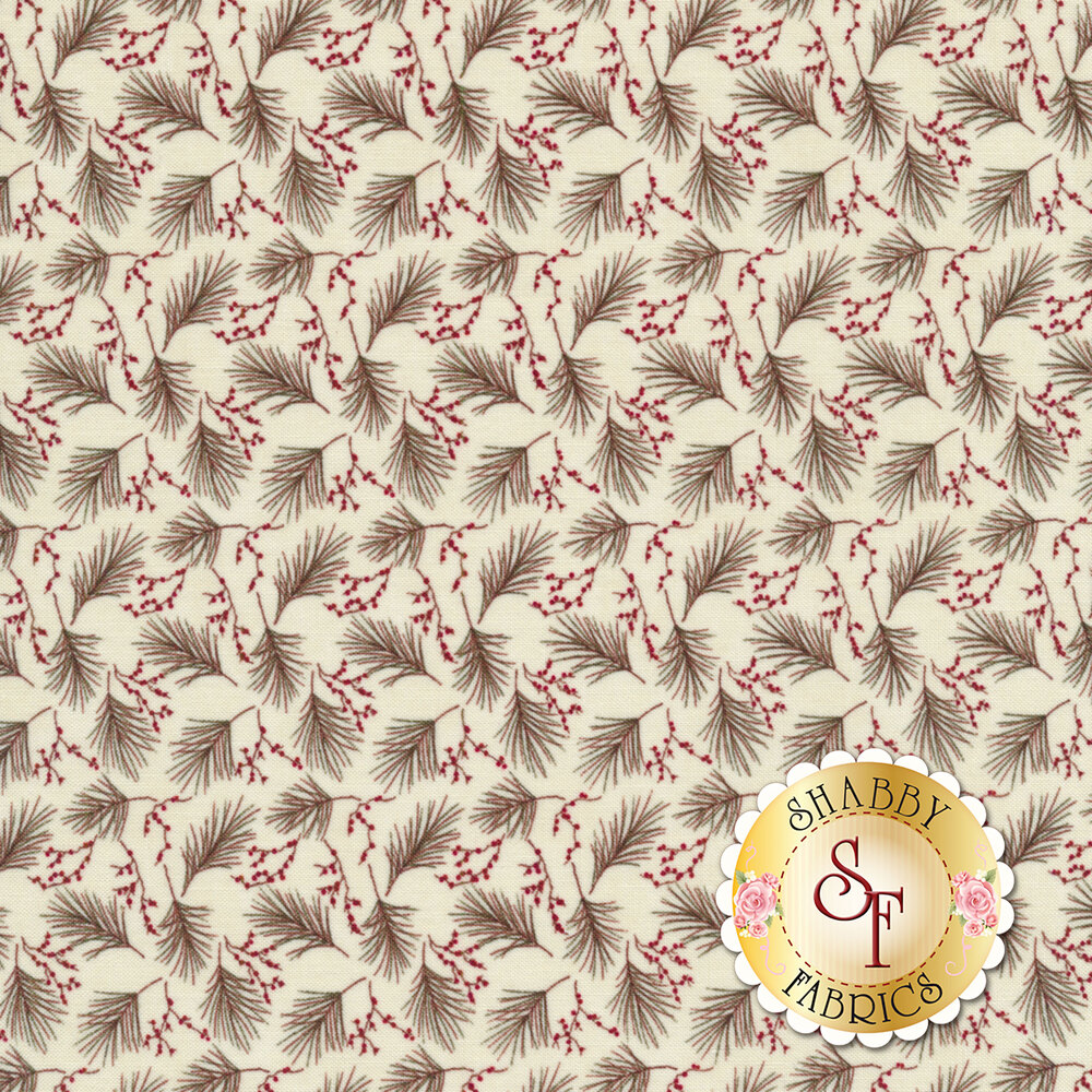 Pine needles tossed all over cream | Shabby Fabrics