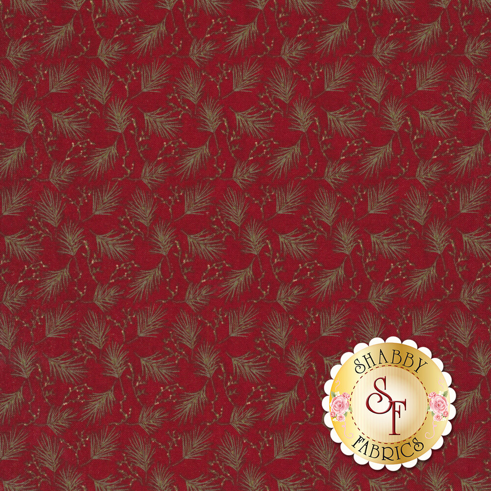Green pine needles with cream berries all over red   Shabby Fabrics