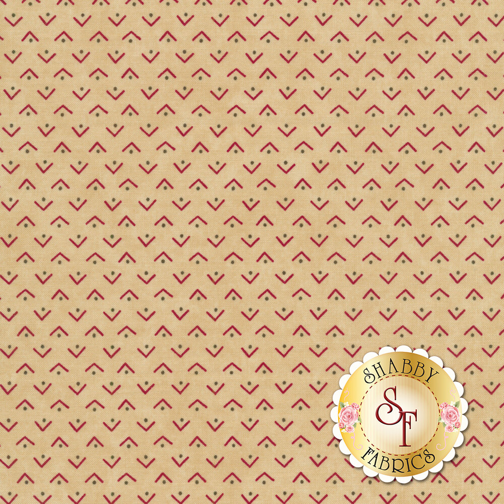Red and green triangle design on tan | Shabby Fabrics