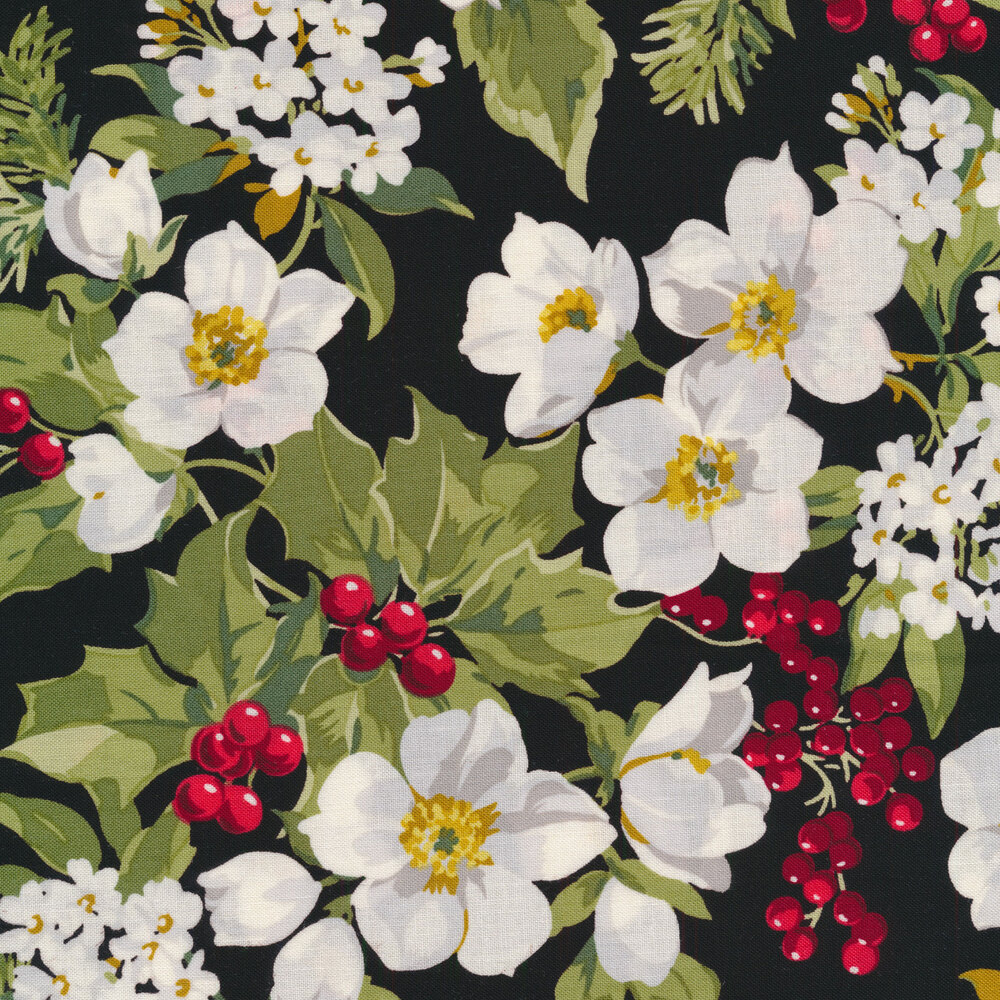 White flowers and red berries on black | Shabby Fabrics
