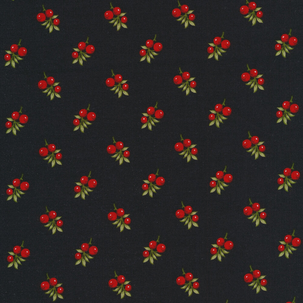 Small red berries tossed on black | Shabby Fabrics