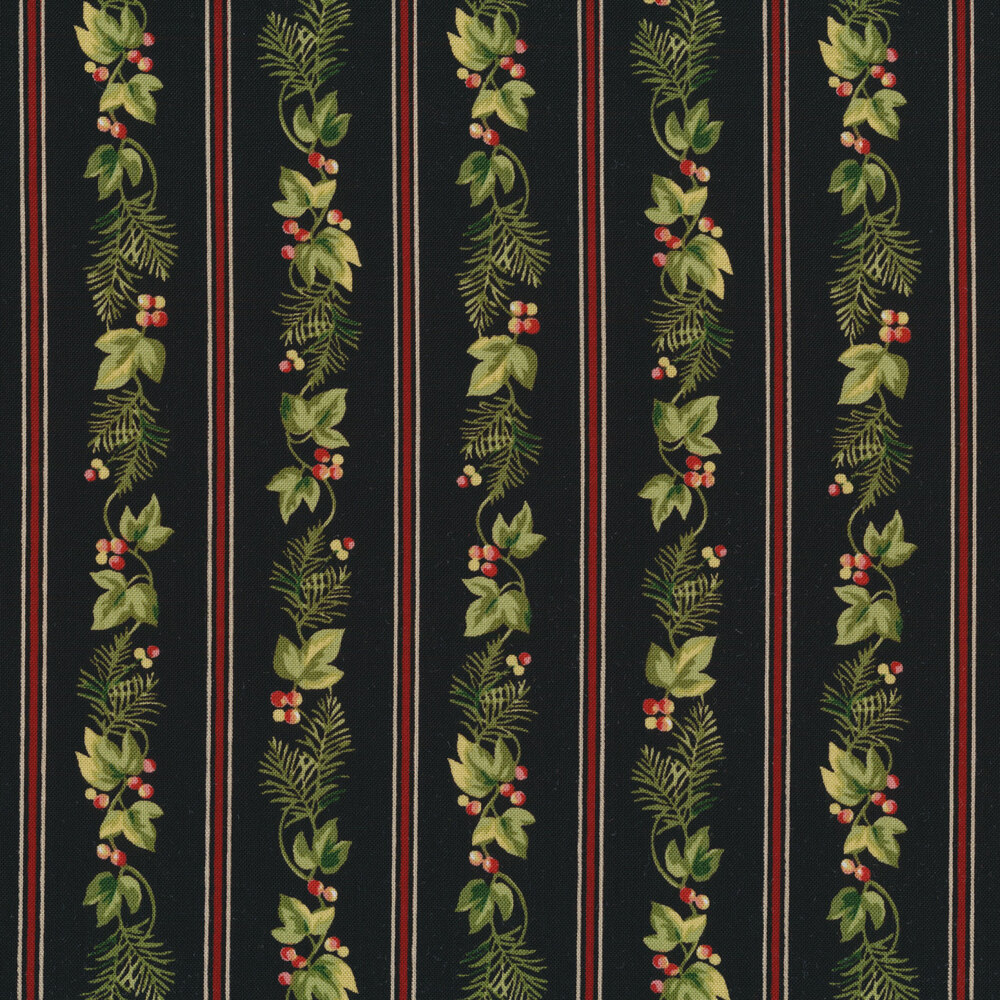 Red stripes and holly stripe on black | Shabby Fabrics
