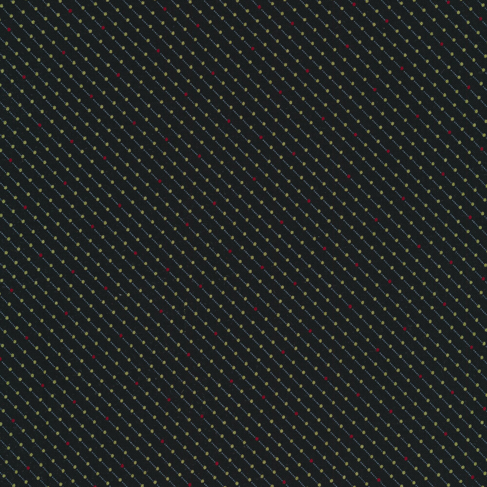 Red and green dots in diagonal lines on black | Shabby Fabrics