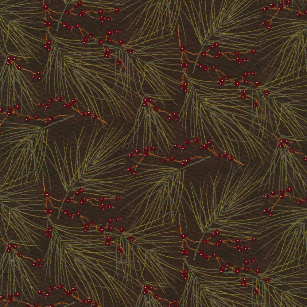 Tossed pine sprigs with small red berries on a dark brown background | Shabby Fabrics