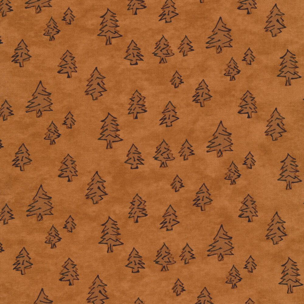 Tonal pine trees all over a brown mottled background | Shabby Fabrics