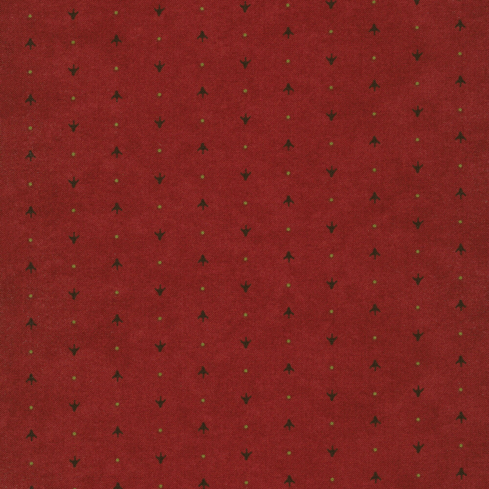 Alternating arrows and dots on a red mottled background | Shabby Fabrics