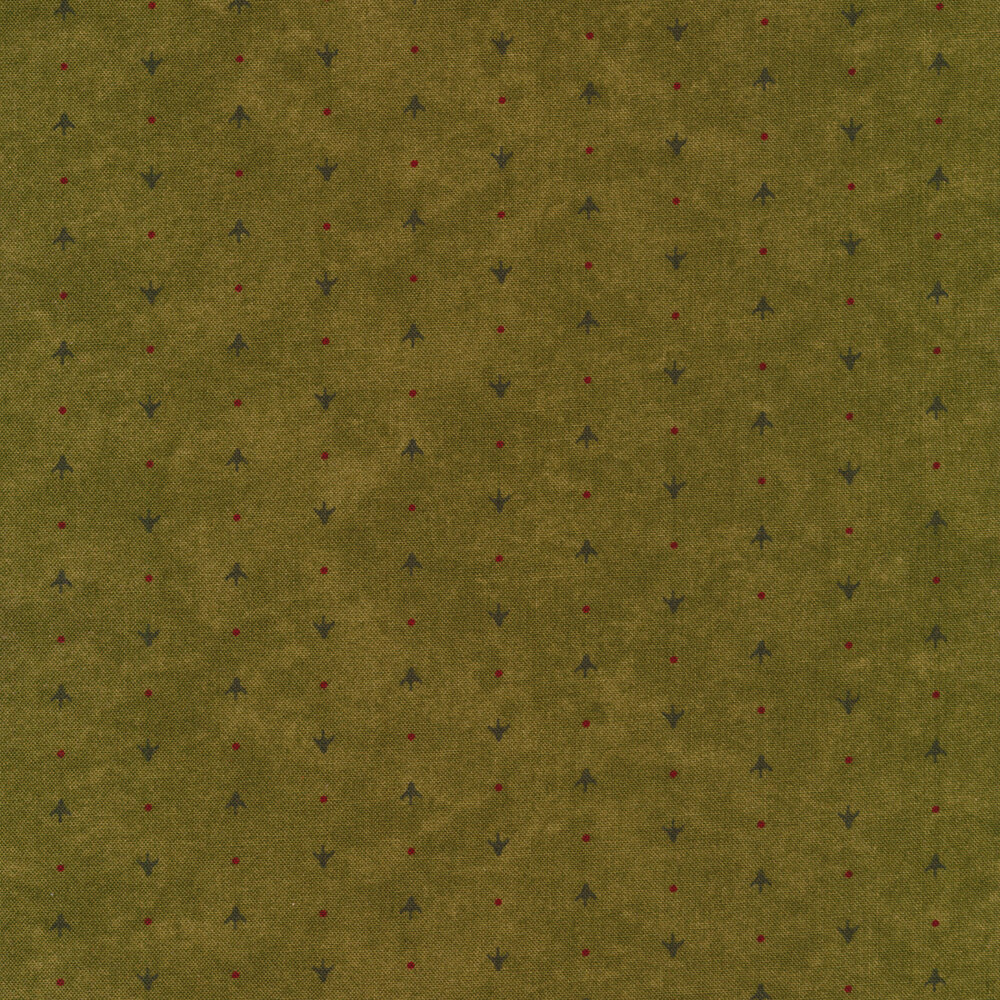 Alternating arrows and dots on a green mottled background | Shabby Fabrics