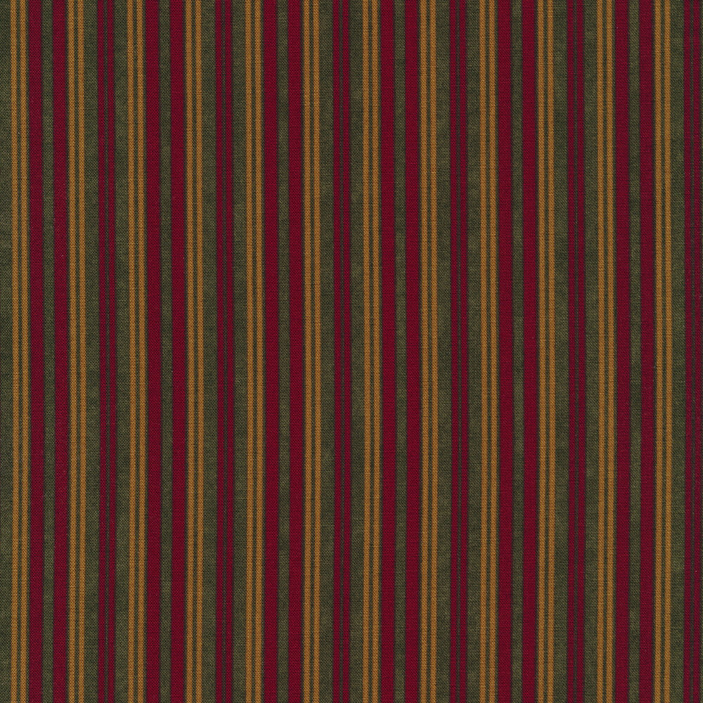 Red, green, and brown striped fabric | Shabby Fabrics