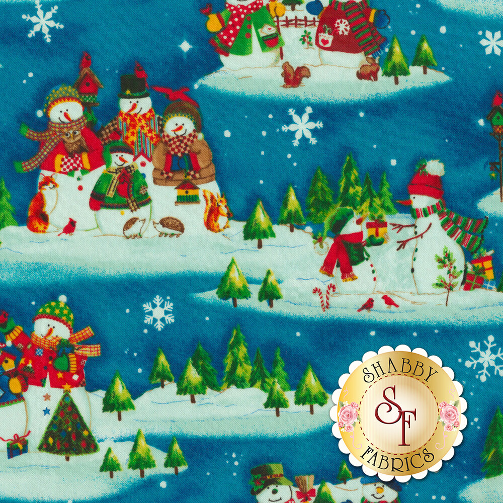 Winter Wishes 50256-1 Deep Blue Snowman Scenic by Windham Fabrics from Whistler Studios