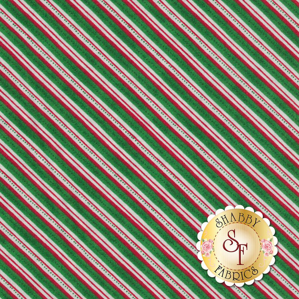 Winter Wishes 50259-4 Green Diagonal Stripe by Windham Fabrics from Whistler Studios