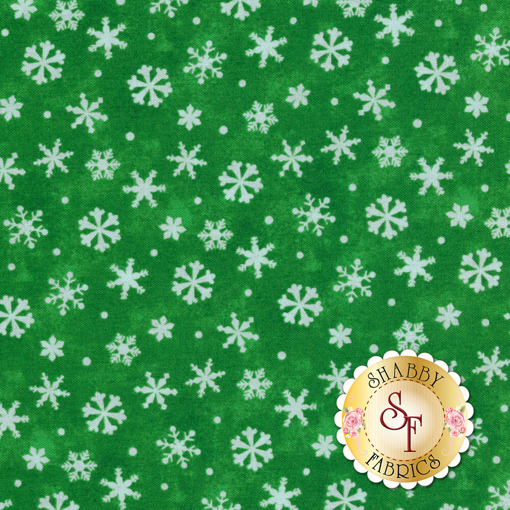 Winter Wishes 50260-4 Green Snowflakes by Windham Fabrics from Whistler Studios