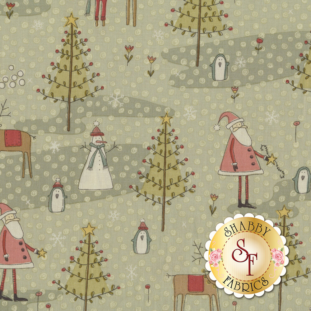 Christmas scene with Santa Claus and his Reindeer surrounded by flowers and snowflakes