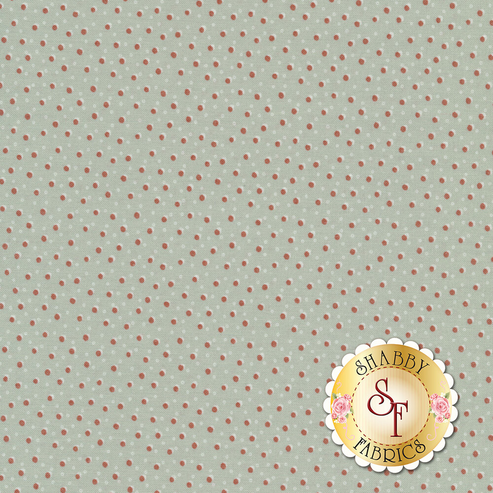 Stylized red dots on a light blue background | Shabby Fabrics