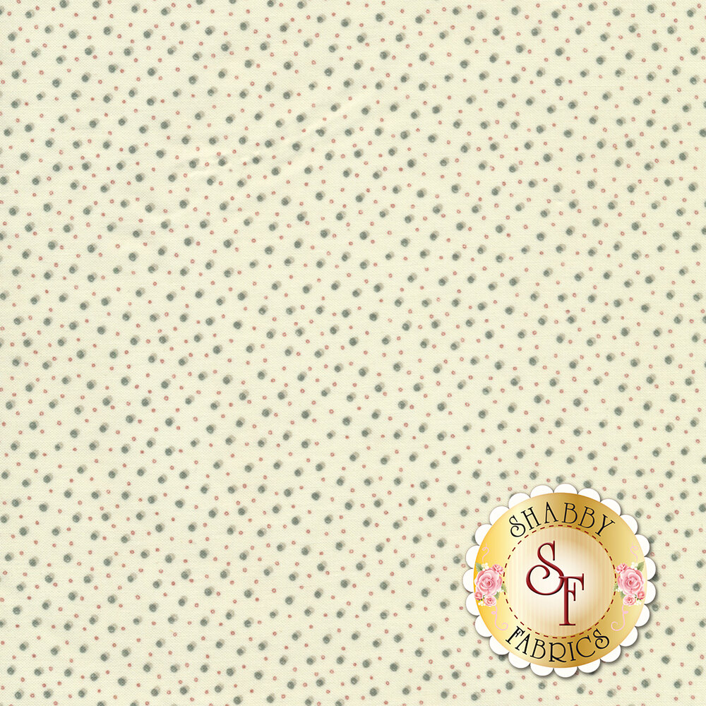 Stylized blue and red dots on a cream background   Shabby Fabrics