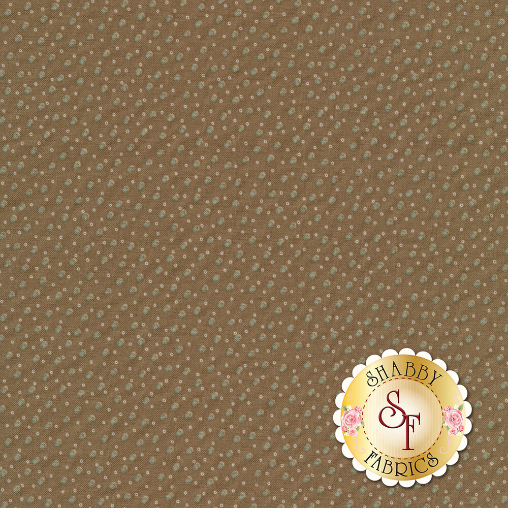 Stylized blue and white dots on a brown background | Shabby Fabrics