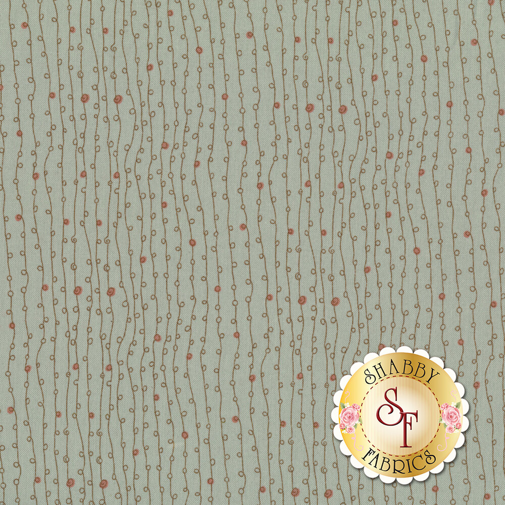 Striped vines with random dots on a light blue background  | Shabby Fabrics
