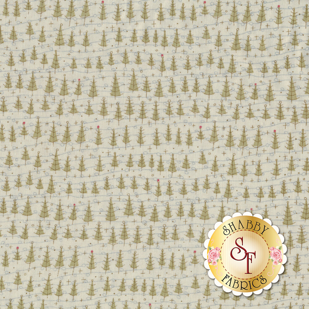 Rows of stylized Christmas trees and snowflakes on a cream background | Shabby Fabrics