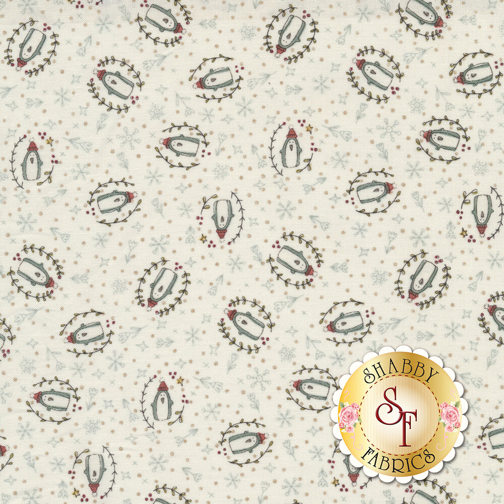 Darling tossed penguins surrounded by snowflakes, flowers, and polka dots on a cream background