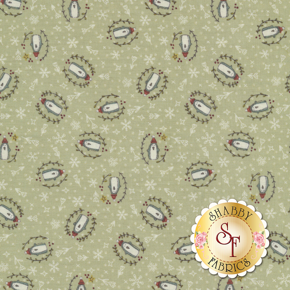 Darling tossed penguins surrounded by snowflakes, flowers, and polka dots on a sage green background