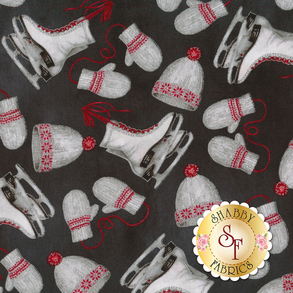 Gray fabric featuring tossed ice skates and winter hats and mittens | Shabby Fabrics