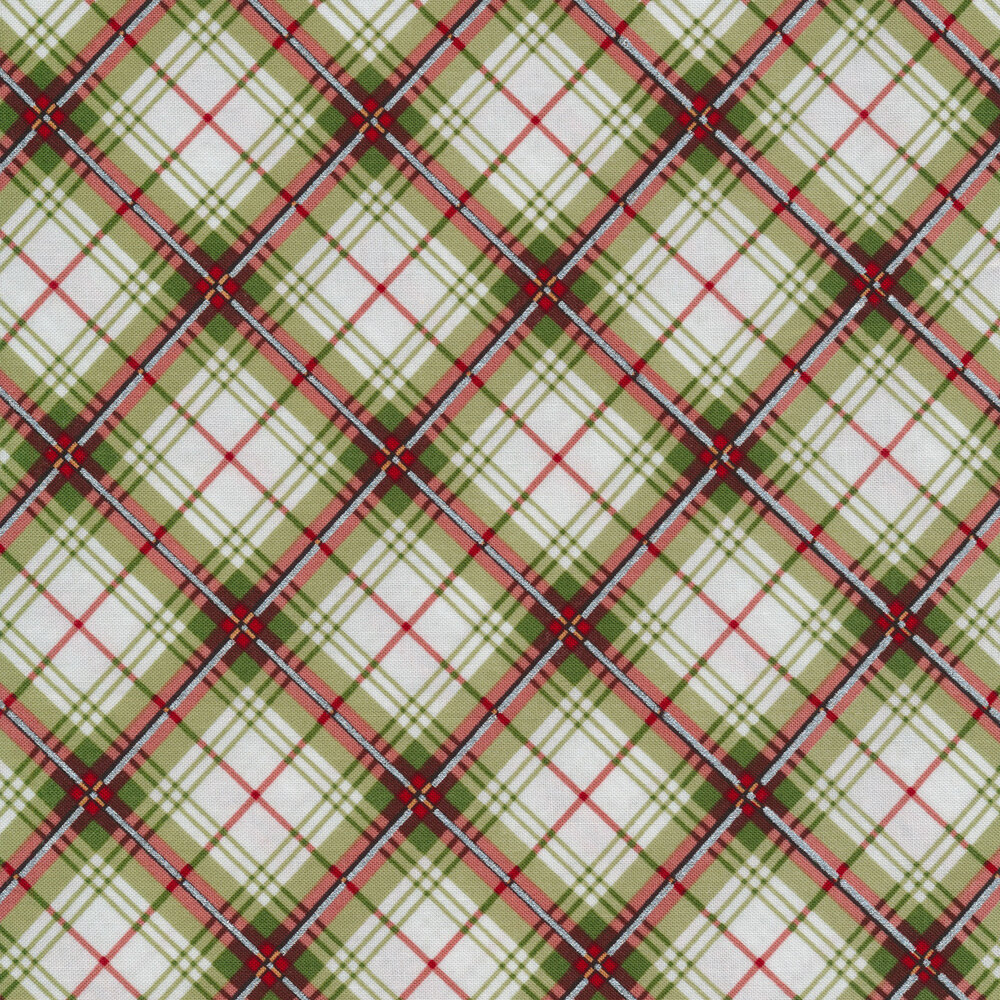 Red and green plaid on white | Shabby Fabrics