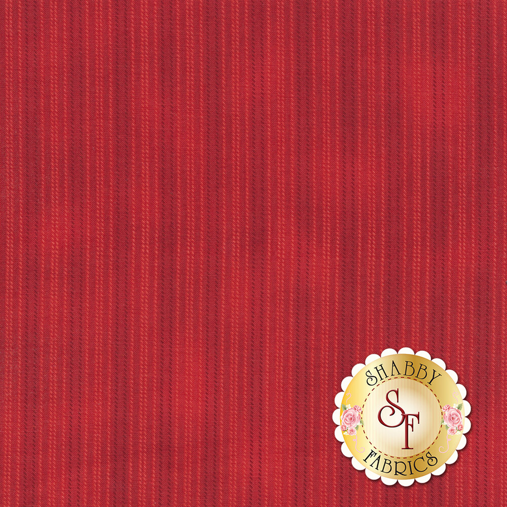 Mottled red fabric with small gold stripes | Shabby Fabrics