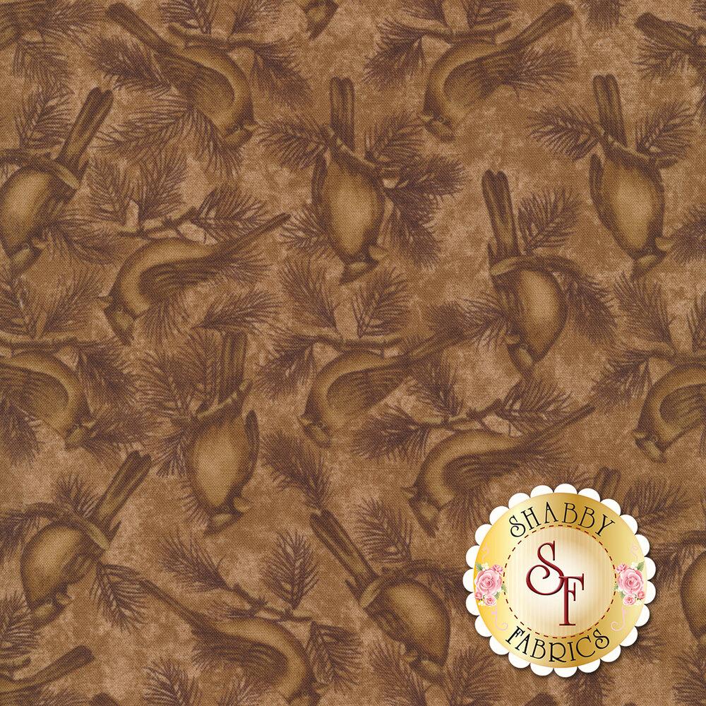 Brown tonal fabric with cardinal birds and pine tree sprigs | Shabby Fabrics
