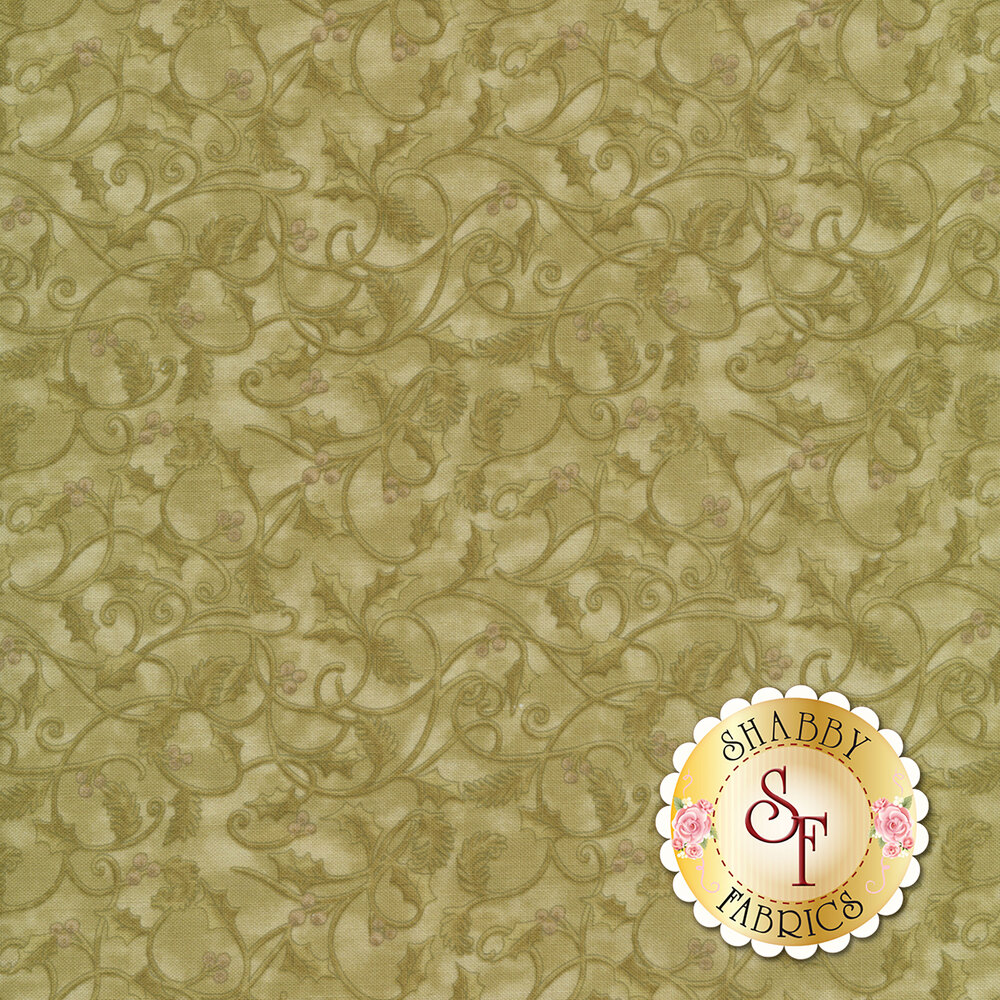 Tonal leaves and vines on a green mottled background | Shabby Fabrics