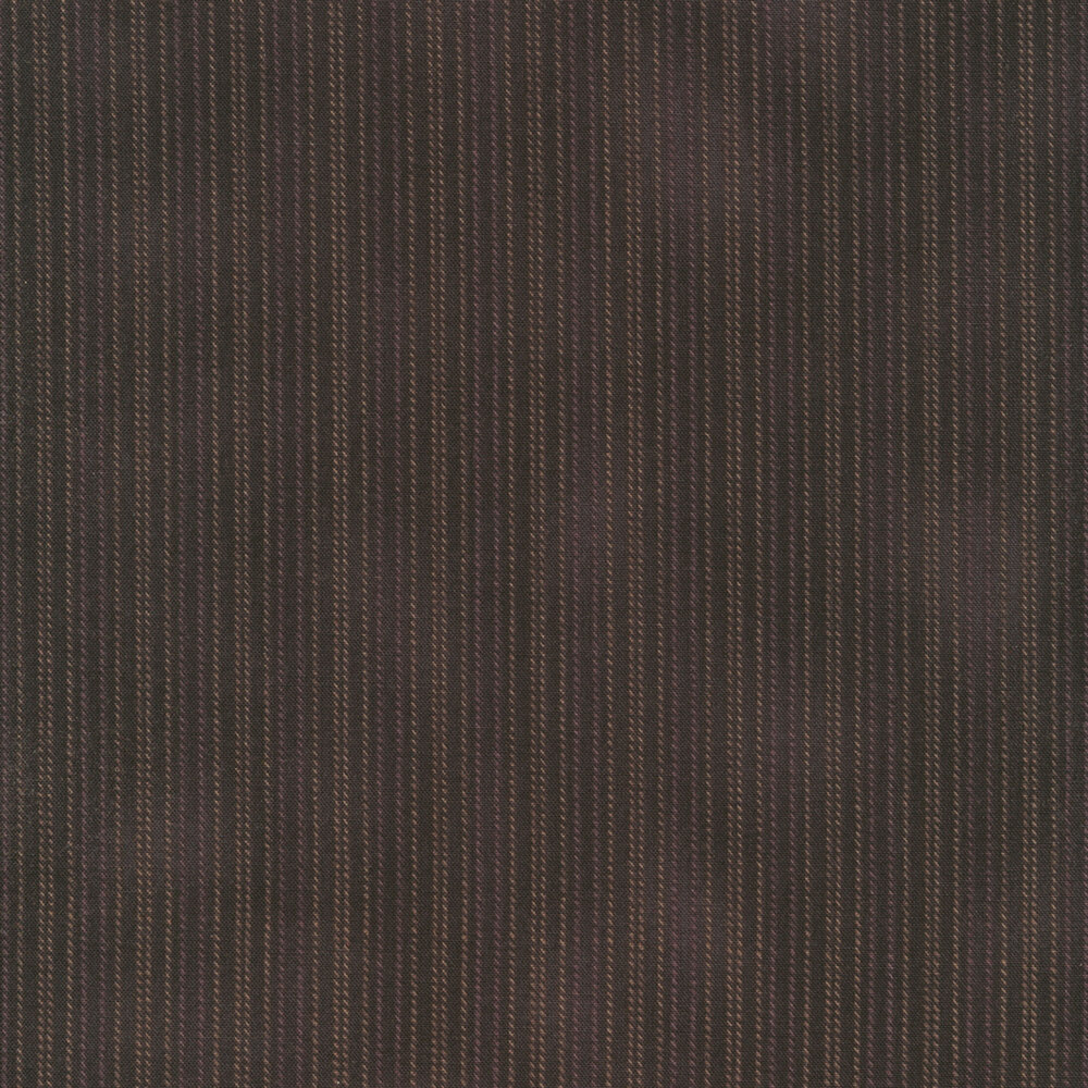 Mottled black fabric with small brown stripes | Shabby Fabrics