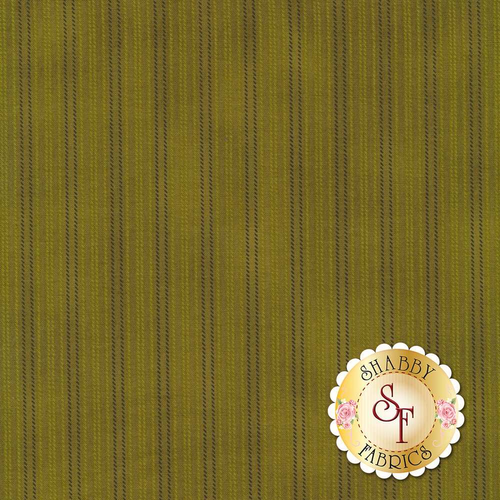 Green fabric with small gold and black stripes | Shabby Fabrics