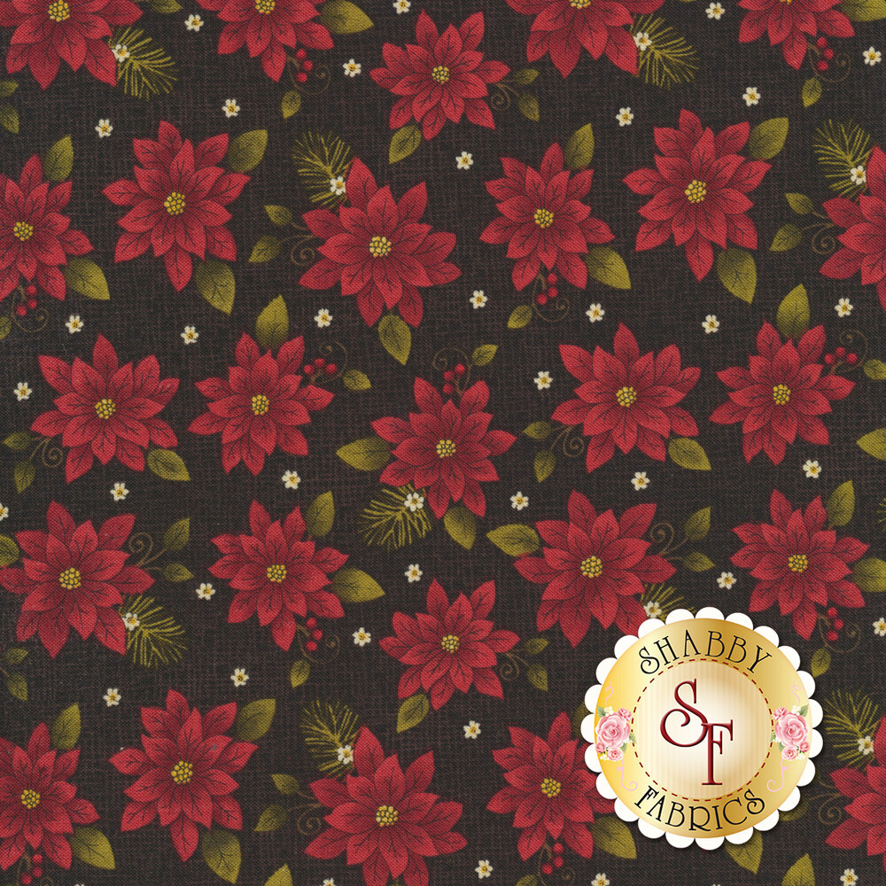 Beautiful poinsettias all over a black textured background | Shabby Fabrics