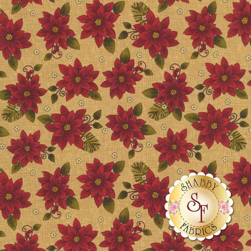 Beautiful poinsettias all over a tan textured background | Shabby Fabrics