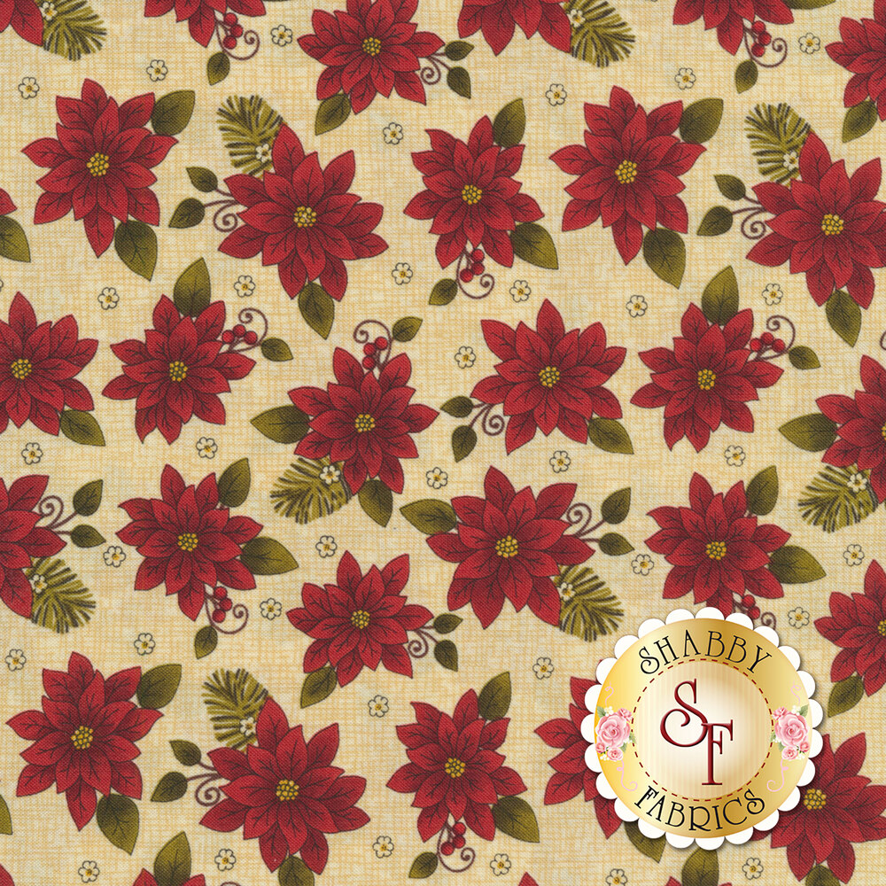 Beautiful poinsettias all over a cream textured background | Shabby Fabrics