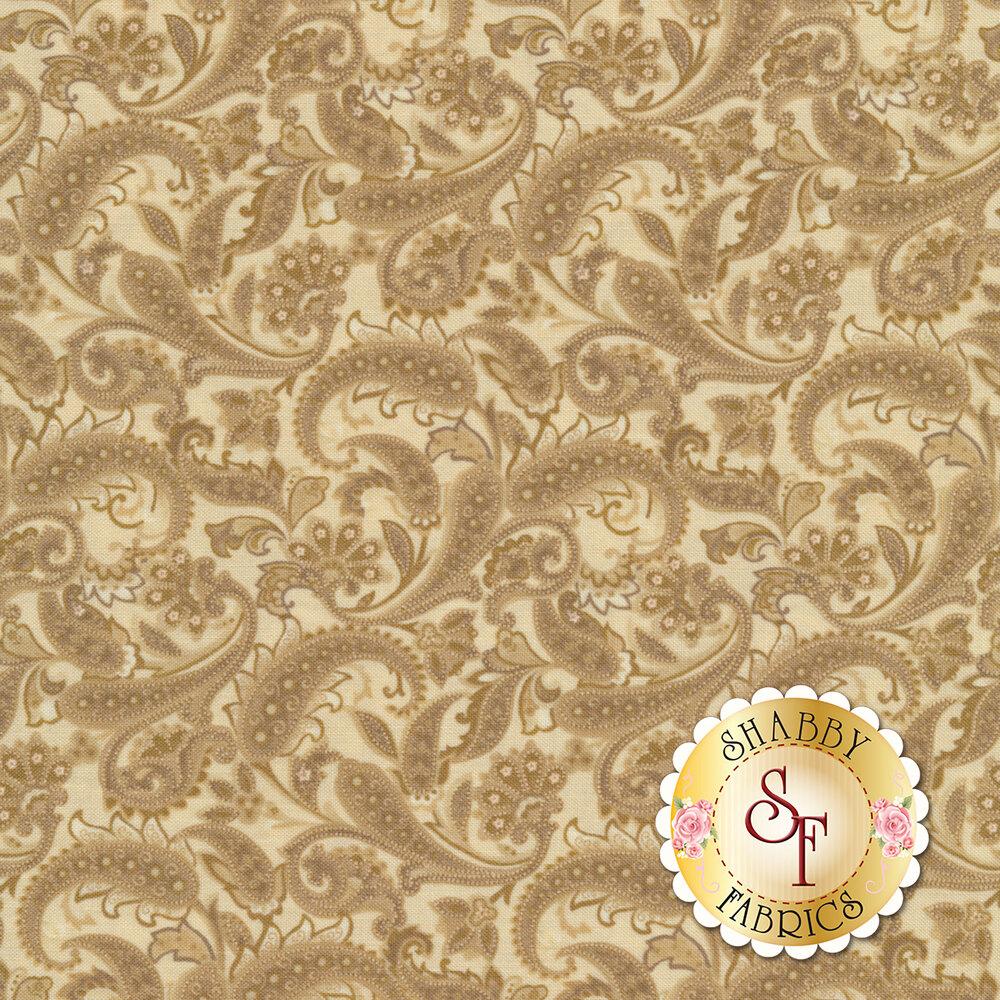 Beautiful tonal paisleys on a tan background | Shabby Fabrics