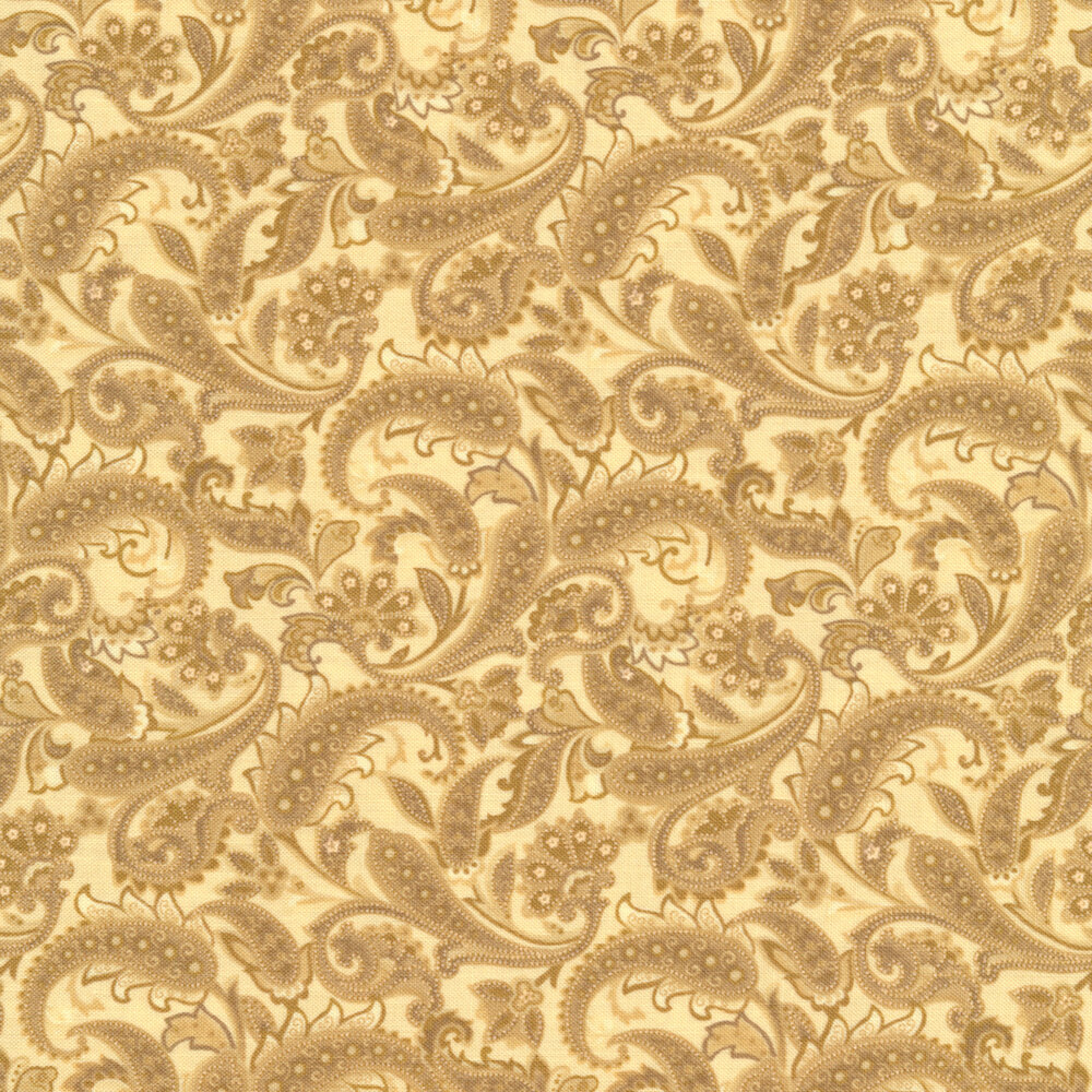 Beautiful tonal paisleys on a tan background | Shabby Fabrics