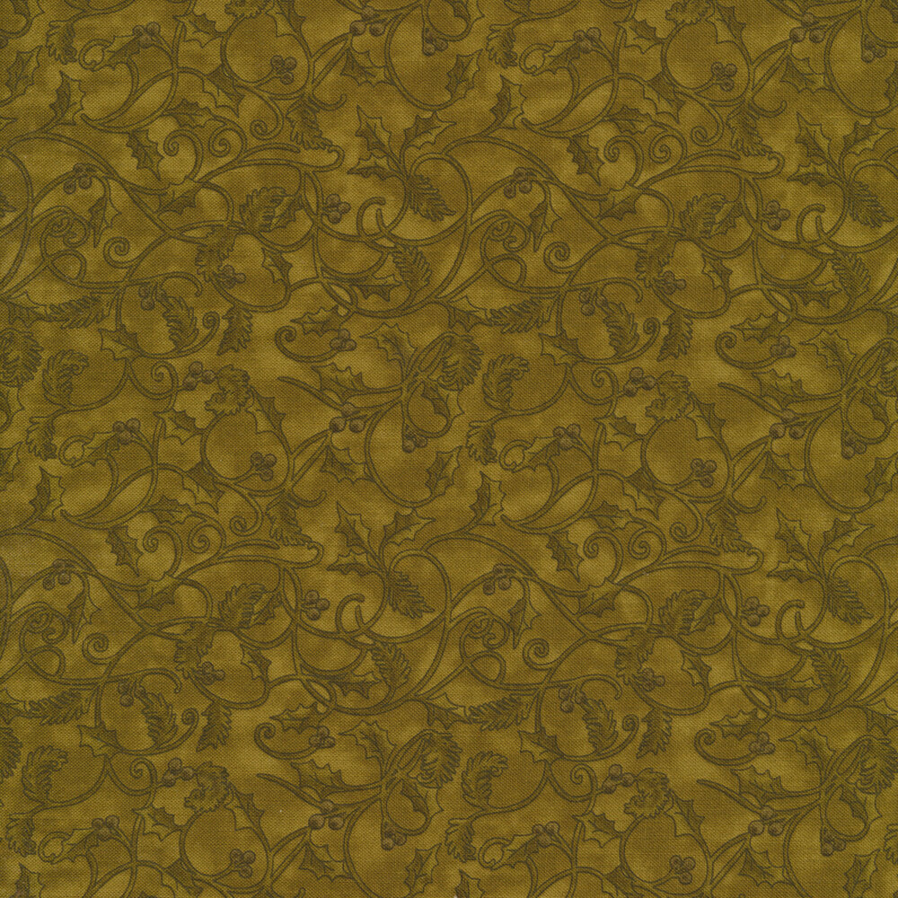 Tonal leaves and vines on a dark green mottled background | Shabby Fabrics