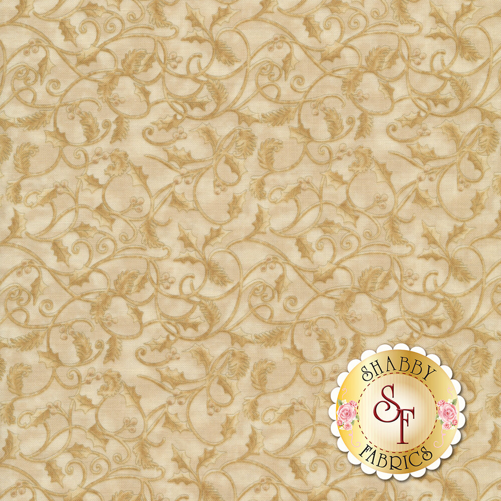 Tonal leaves and vines on a cream mottled background | Shabby Fabrics