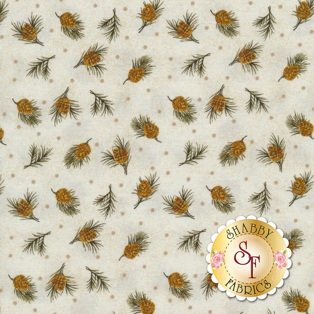 Tossed pine cones on a cream background with small grey dots | Shabby Fabrics