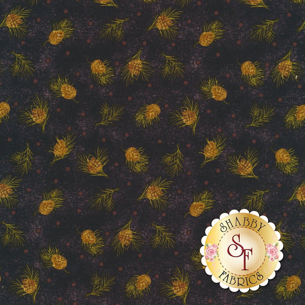 Tossed pine cones on a black background with small grey dots | Shabby Fabrics