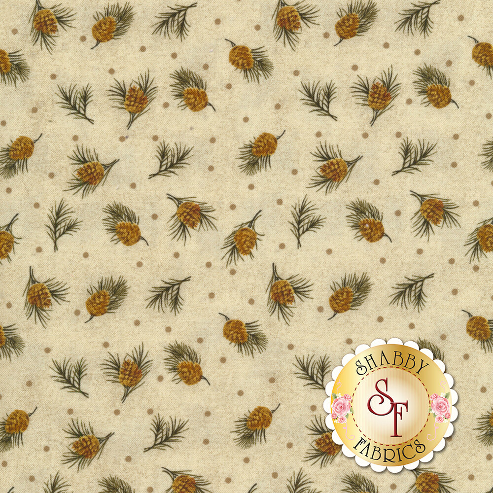 Tossed pine cones on a tan background with small grey dots | Shabby Fabrics