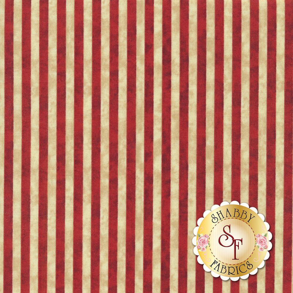 Red and cream stripes on a distressed background | Shabby Fabrics