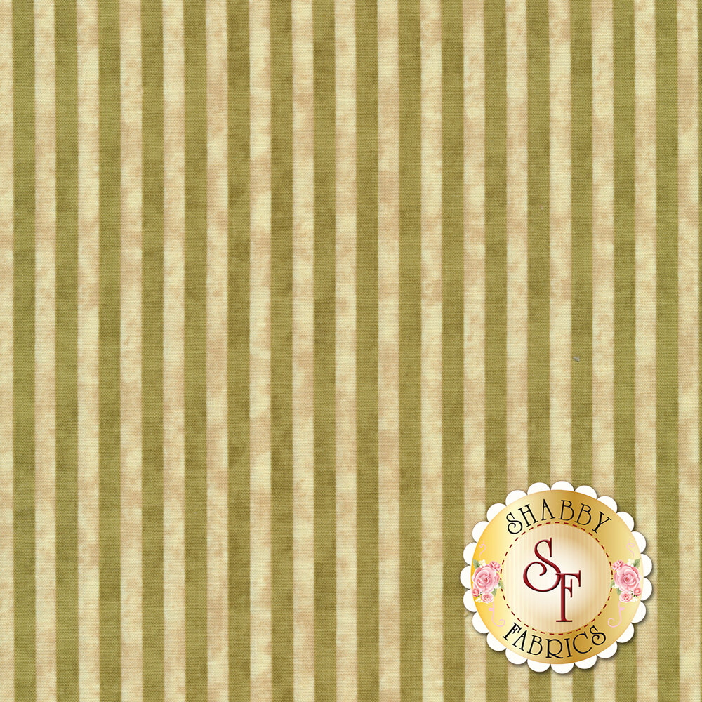 Green and cream striped fabric with a distressed look | Shabby Fabrics