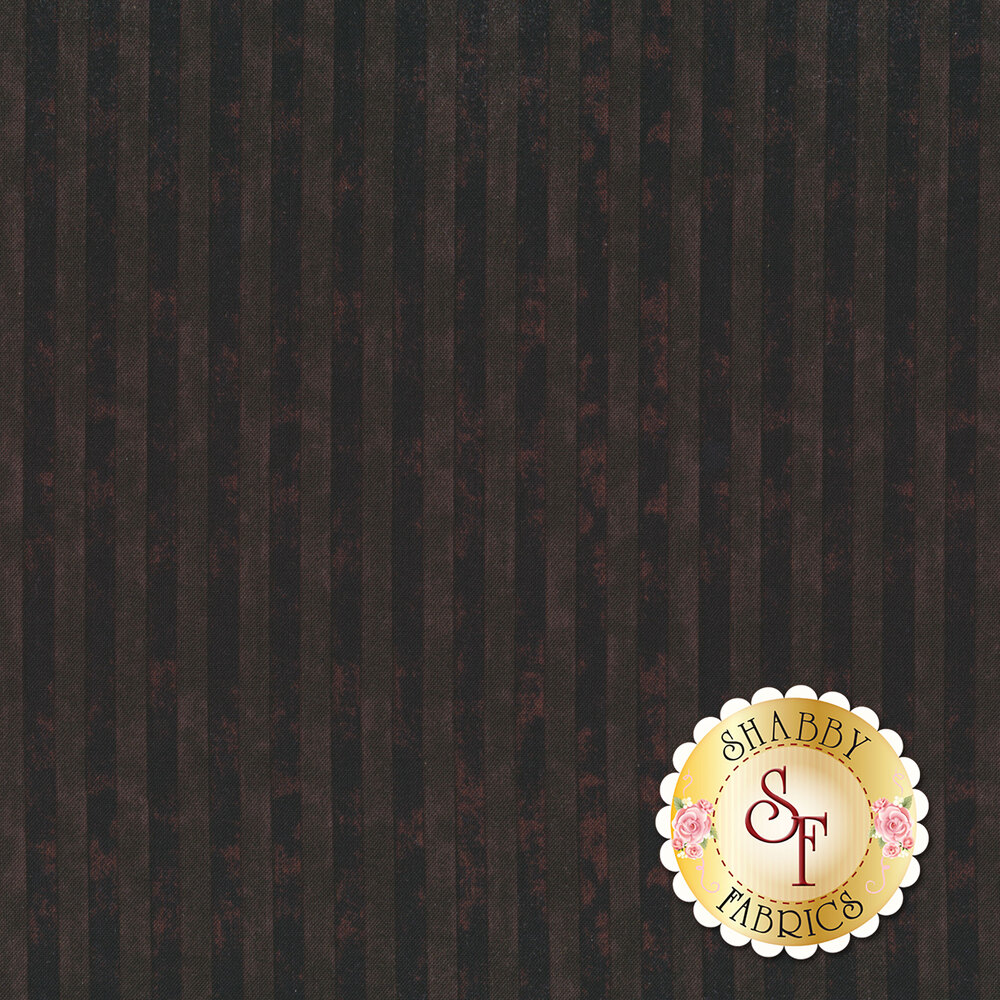 Tonal black and dark brown striped print with a distressed look | Shabby Fabrics