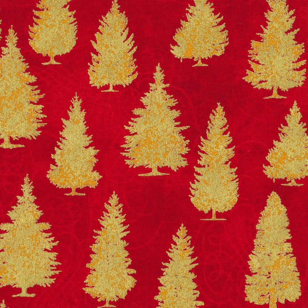 Gold tree print on red | Shabby Fabrics