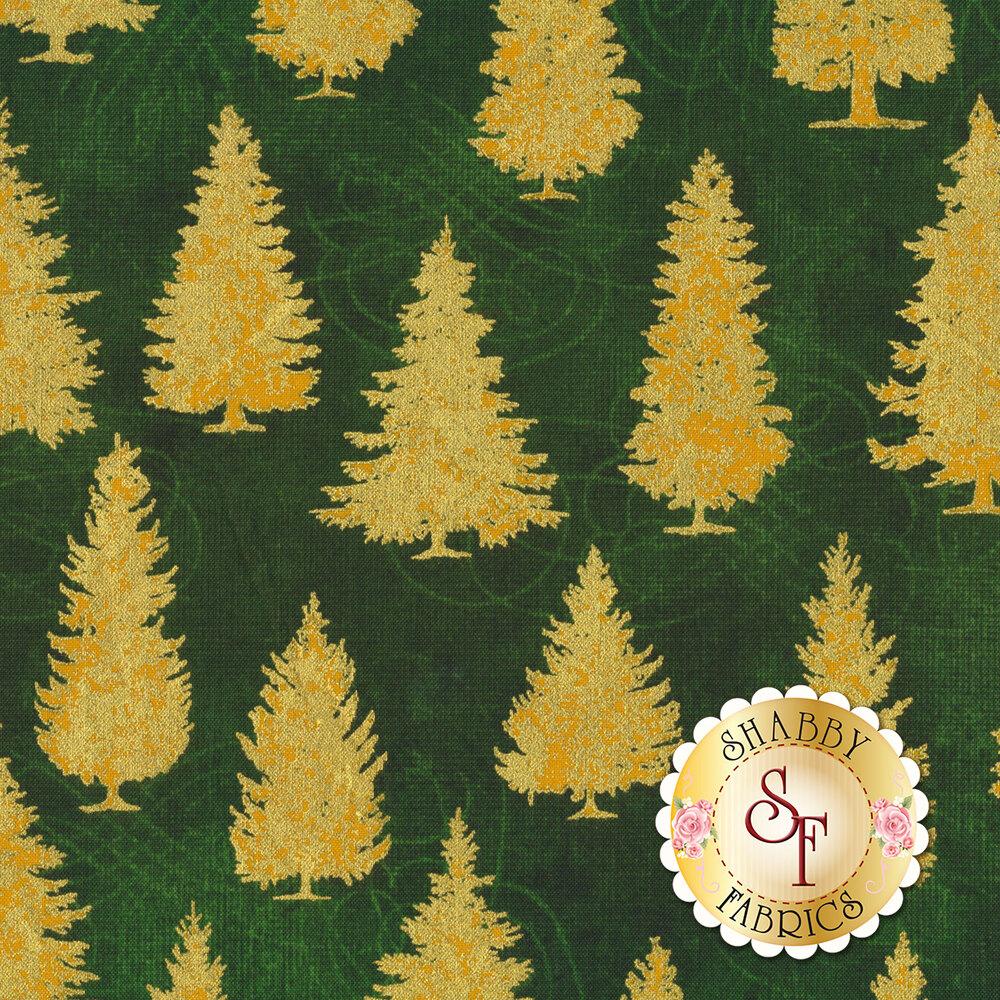 Gold trees on green | Shabby Fabrics