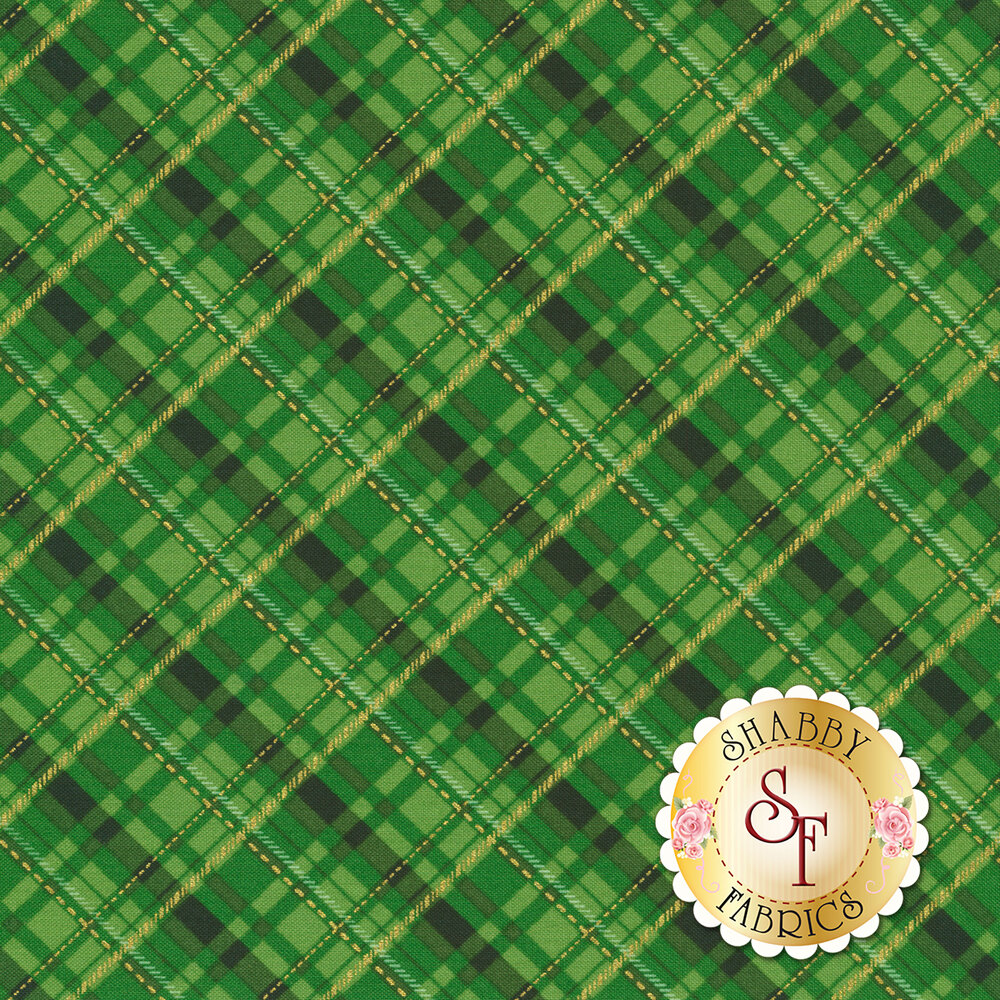 Diagonal green plaid with gold accents | Shabby Fabrics