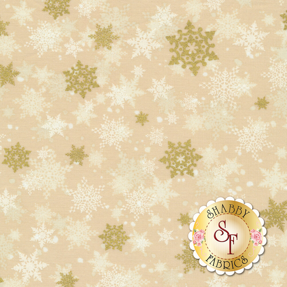 Gold and ivory snowflakes on a tan background | Shabby Fabrics
